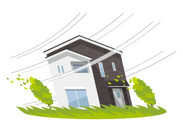 強風に耐える家